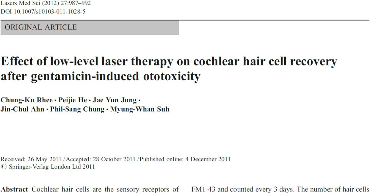 Effect Of Low-Level Laser Therapy On Cochlear Hair Cell Recovery After Gentamicin-Induced Otoxoticity