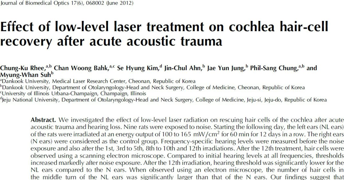 Effect Of Low-Level Laser Treatment On Cochlea Hair-Cell Recovery After Acute Acoustic Trauma