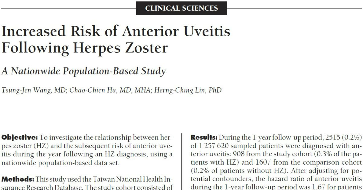 Increased Risk Of Anterior Uveitis Following Herpes Zoster